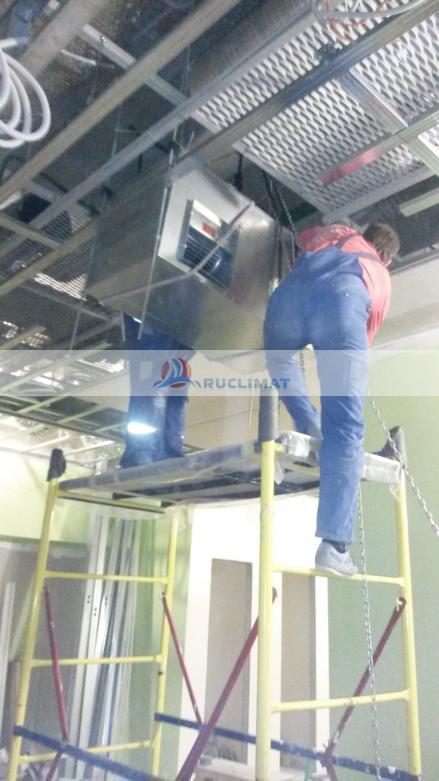 Монтаж приточной установки с секцией охлаждения Mammoth